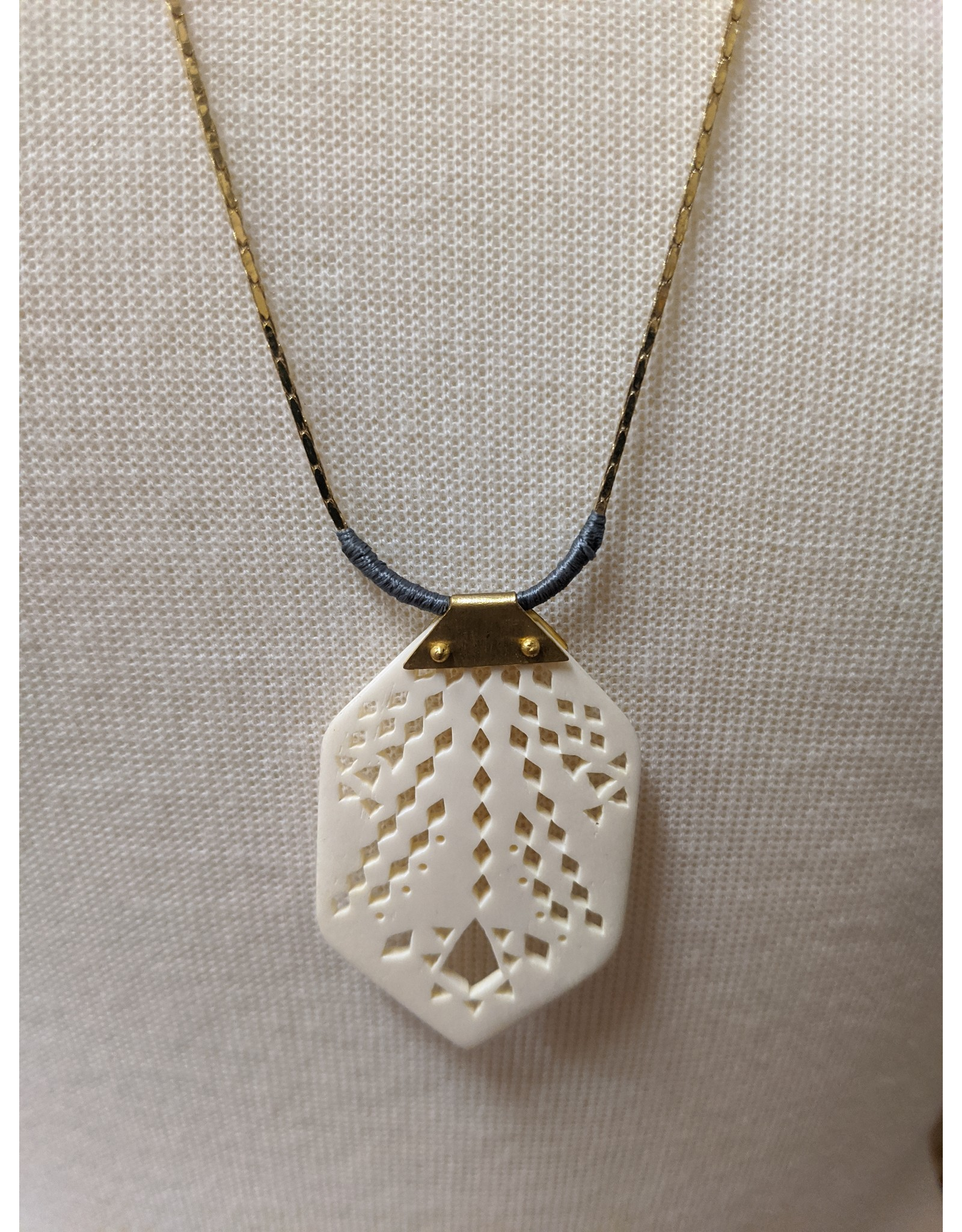 Ten Thousand Villages Bone Pendant Necklace