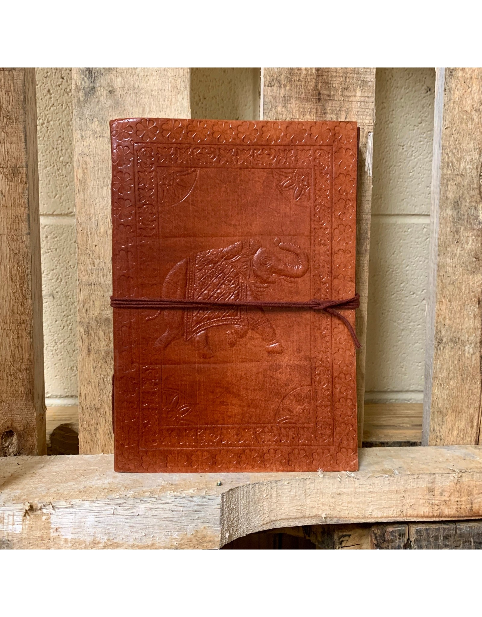 Ten Thousand Villages Journal Embossed Elephant Brown leather w/cord