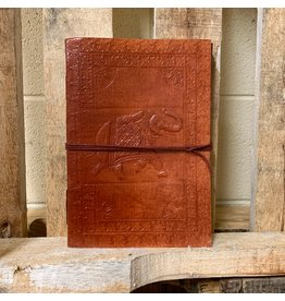 Ten Thousand Villages Journal Embossed Elephant, Brown leather w/cord, India