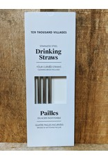 Ten Thousand Villages Reusable Drinking Straw Set of 4 + cleaning brush Boxed