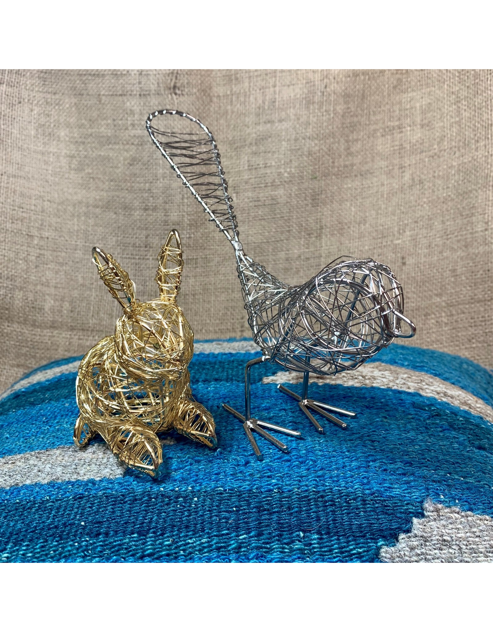 Ten Thousand Villages Sculpture Wire Bunny Goldcolour