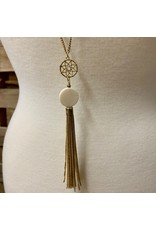 Ten Thousand Villages Filigree & Bone Tassel Necklace, India