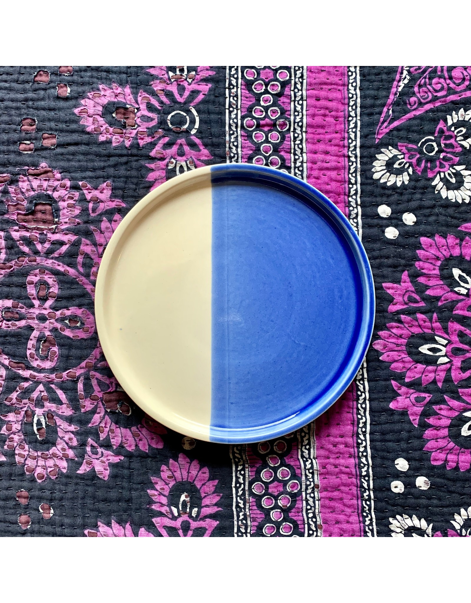 Ten Thousand Villages Blue and White Ceramic Plate
