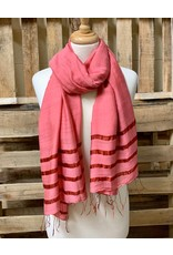 Ten Thousand Villages Striped End Scarf - Raspberry