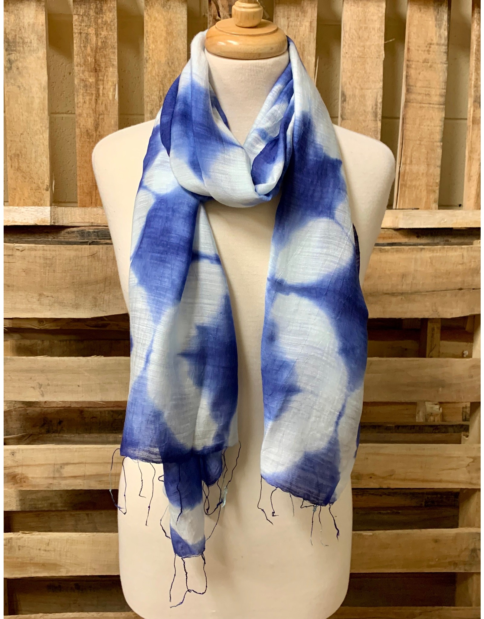 Ten Thousand Villages True Blue Tie Dyed Scarf