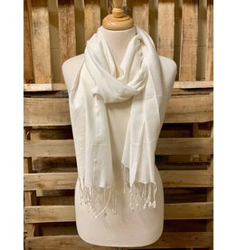 Ten Thousand Villages Ivory Fringed Scarf