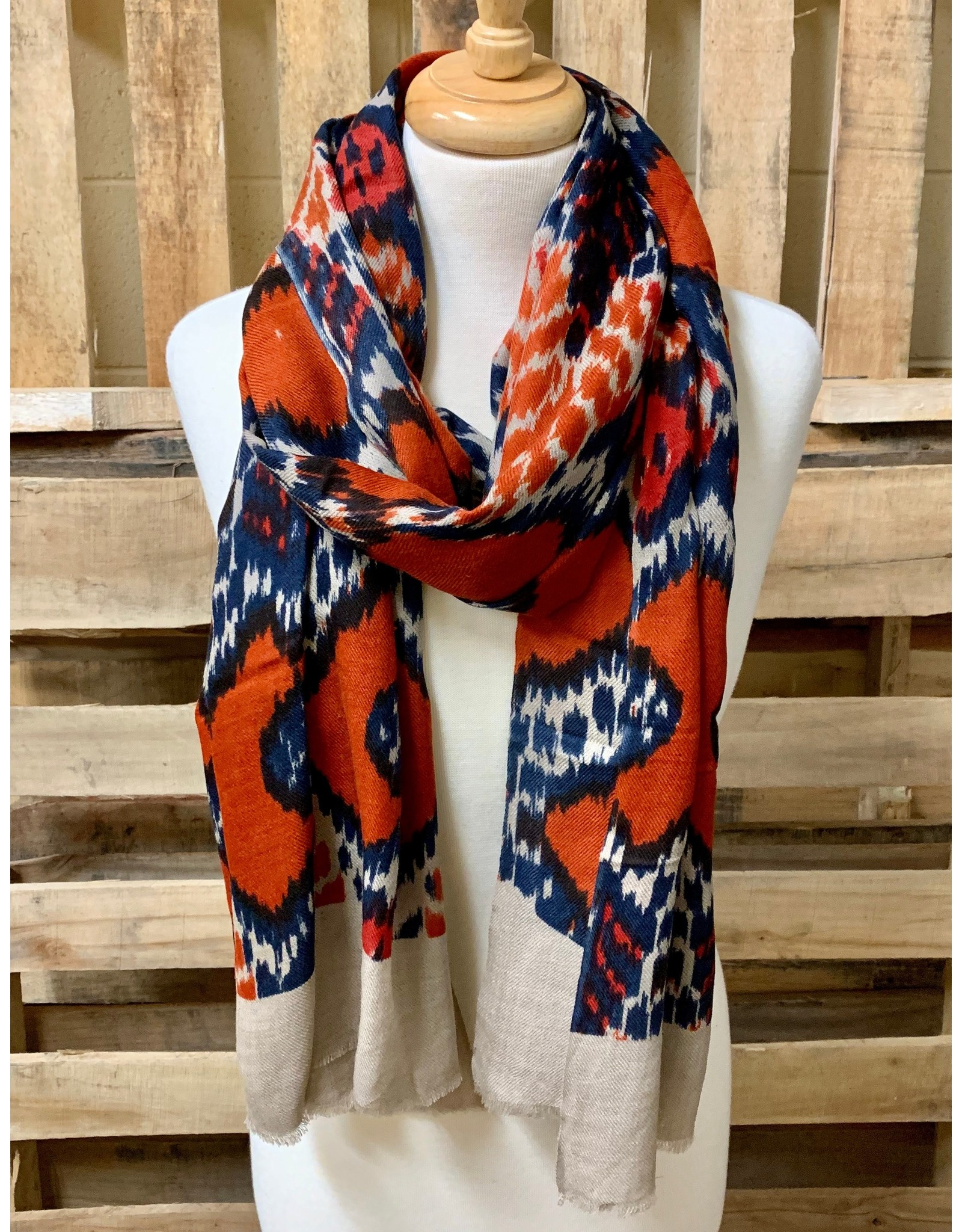 Ten Thousand Villages Red and Blue Wool Scarf
