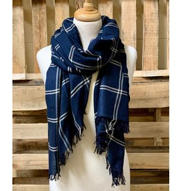 Ten Thousand Villages Navy Plaid Scarf