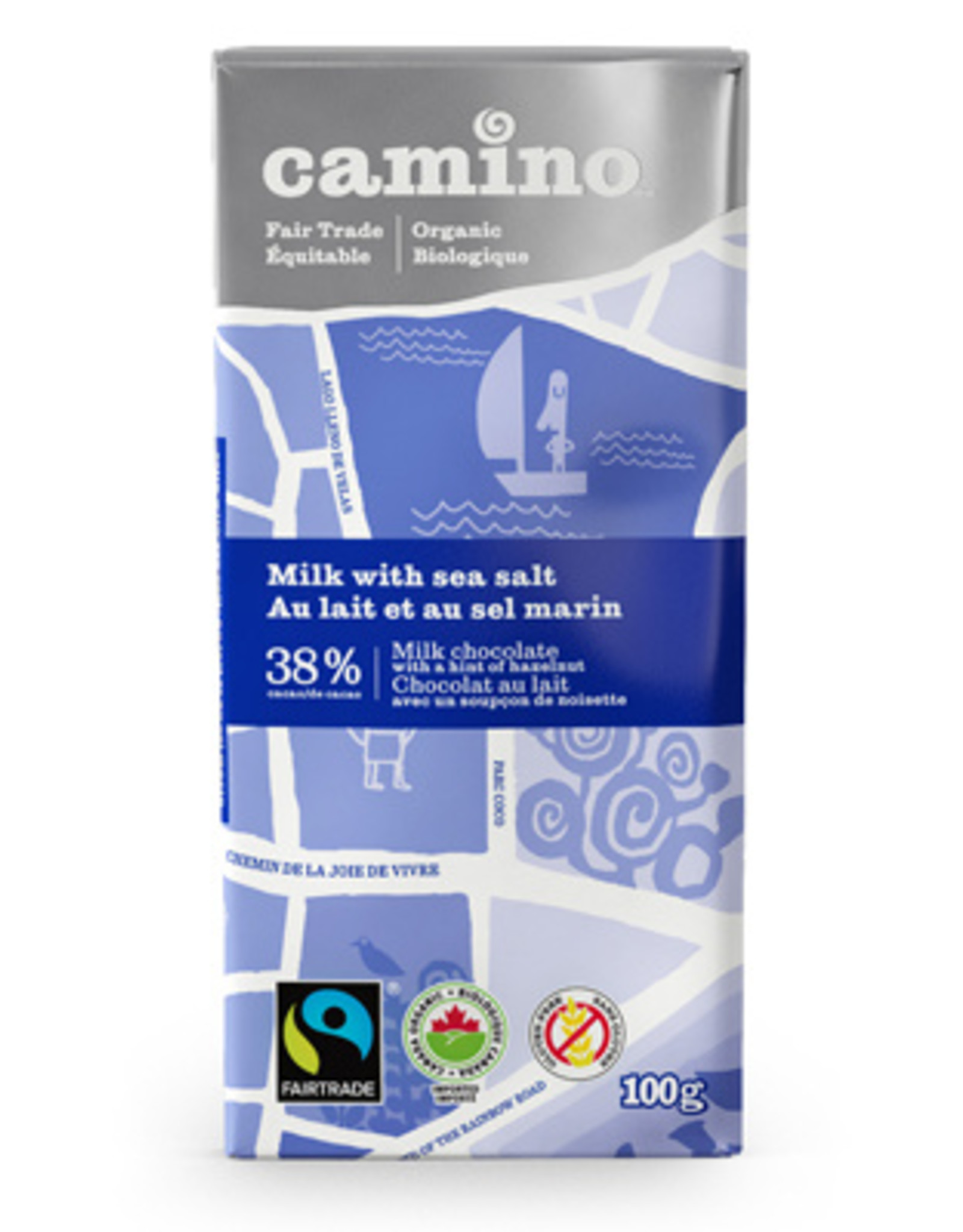 Camino Camino Milk with Sea Salt 38% choc bar 100g