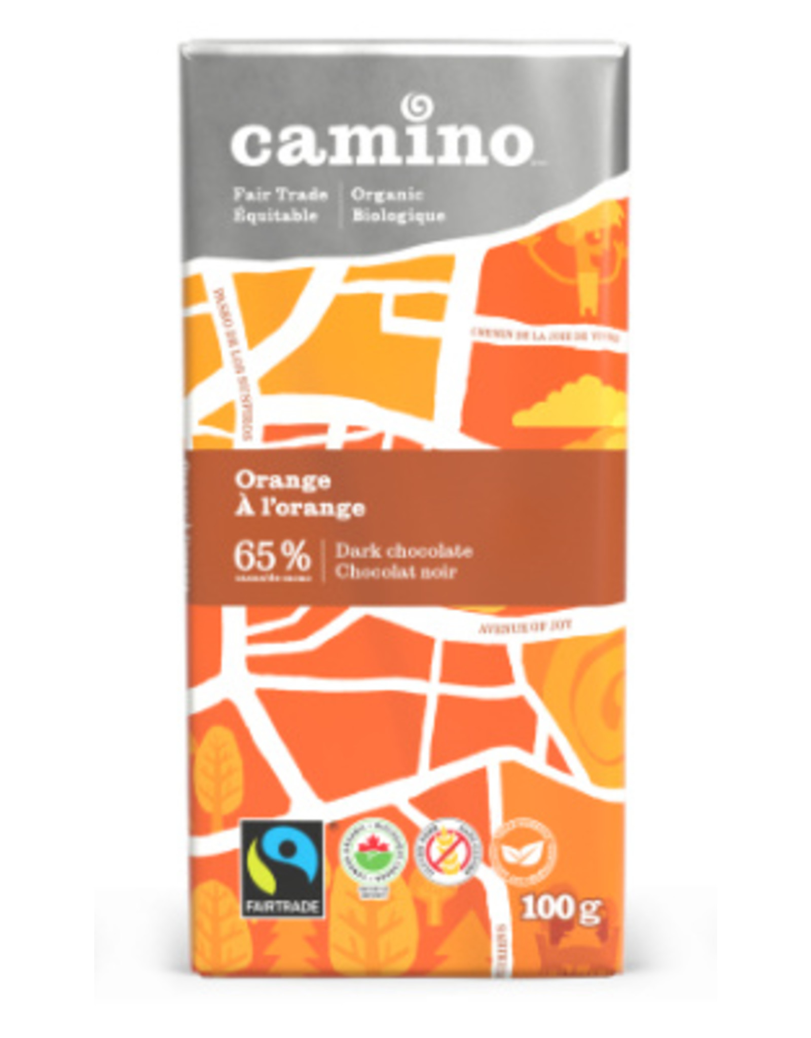 Camino Camino Orange 65% dark choc bar 100g
