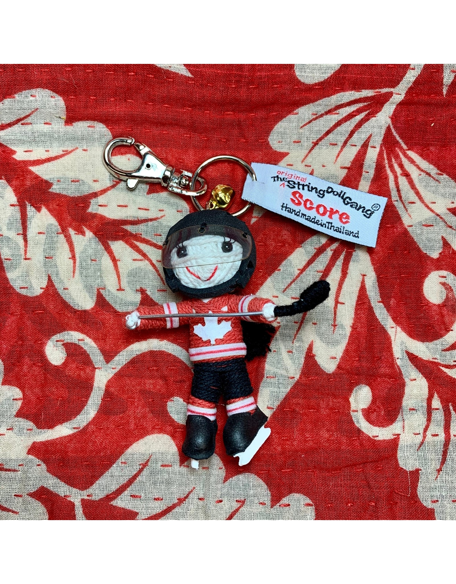 Ten Thousand Villages CLEARANCE Team Canada Hockey Player Keychain (with braid)