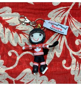 Ten Thousand Villages Team Canada Hockey Player Keychain (with braid)