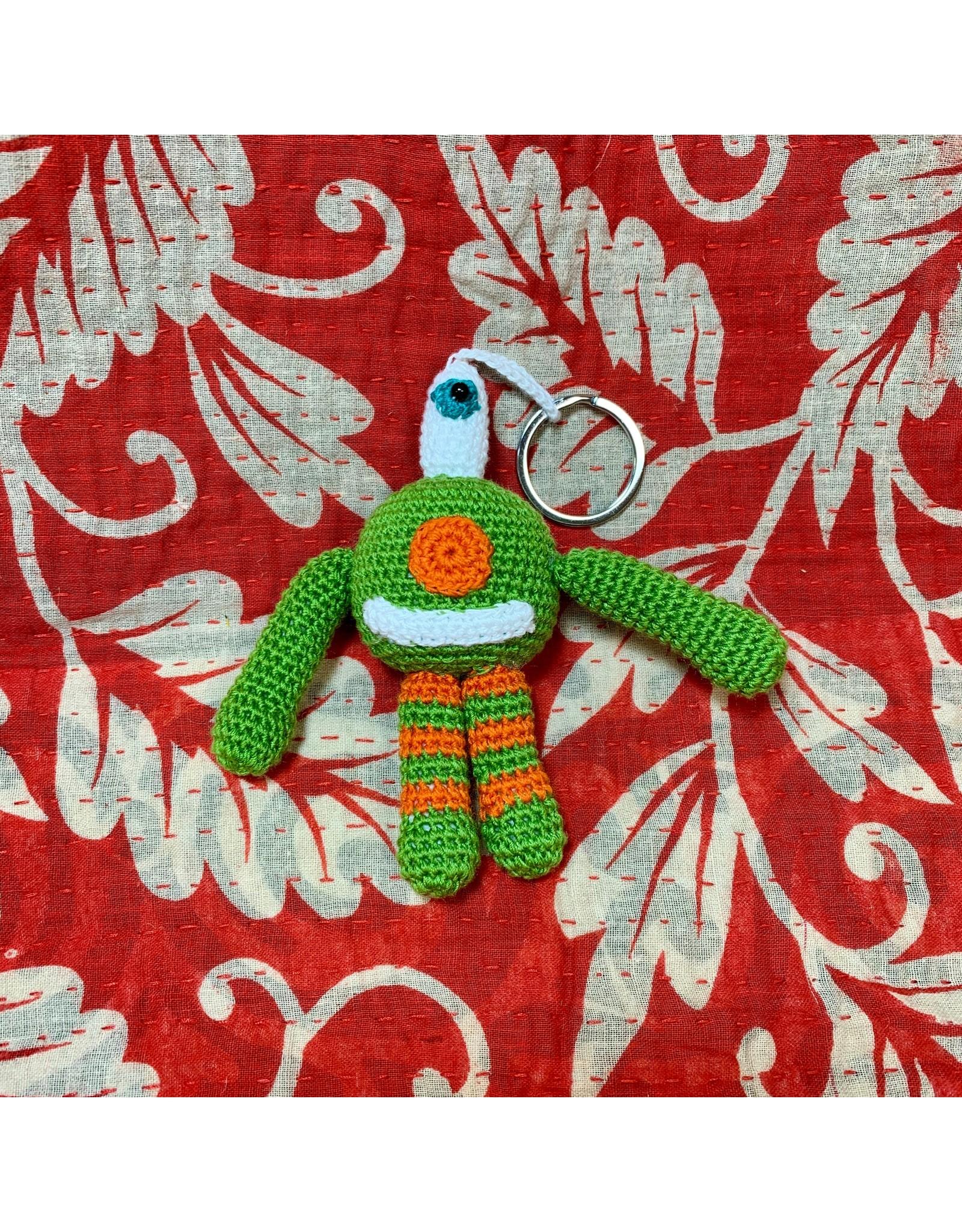 Ten Thousand Villages Crocheted Monster Zipper Pull - Green