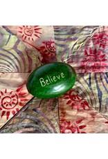 Ten Thousand Villages Believe Paperweight (Green)