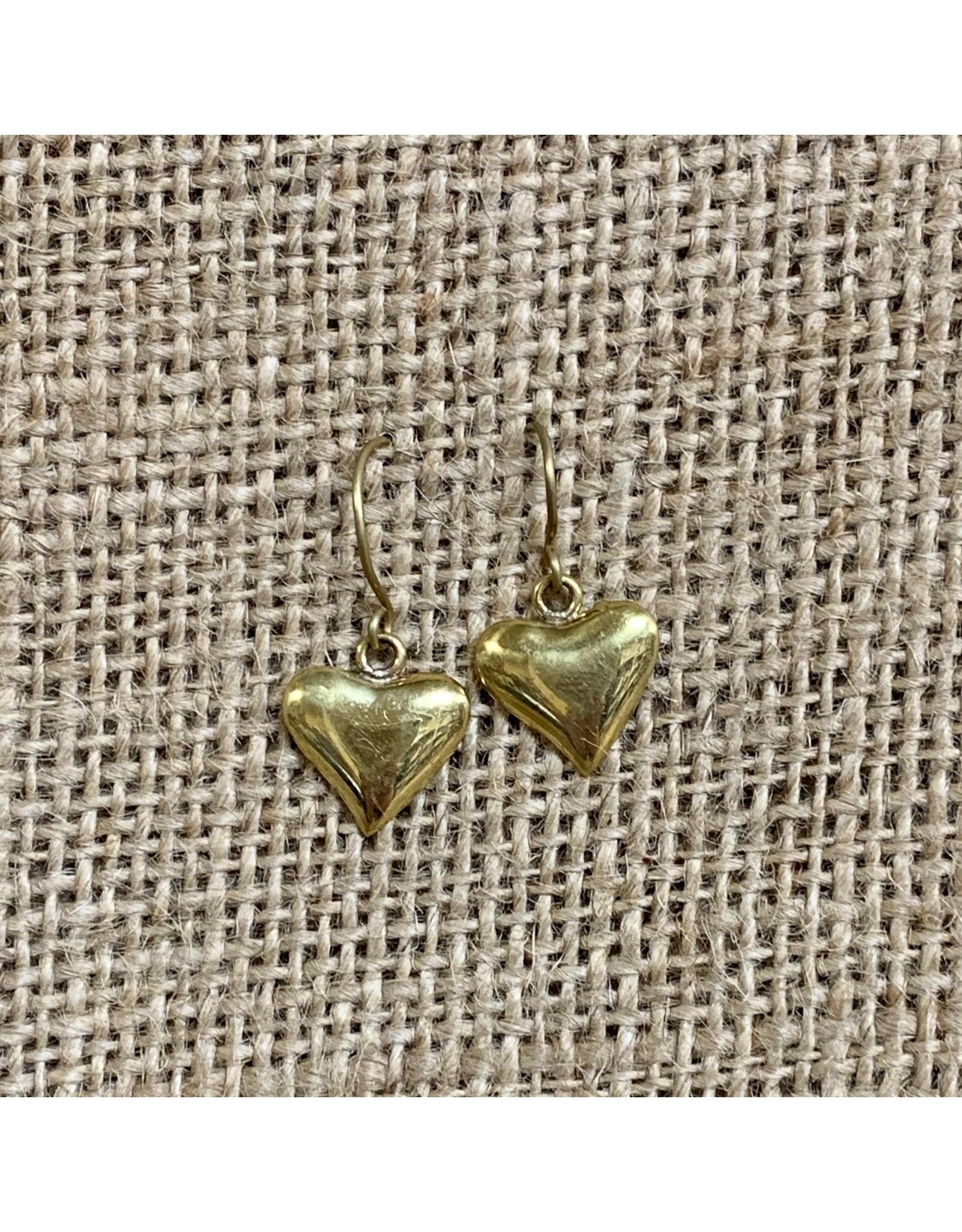 Ten Thousand Villages Gold Heart Earrings