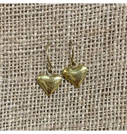 Ten Thousand Villages Gold Heart Earrings
