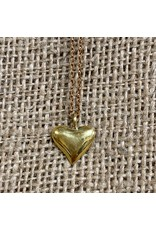 Ten Thousand Villages Gold Heart Necklace