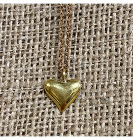 Ten Thousand Villages CLEARANCE Gold Heart Necklace, Cambodia
