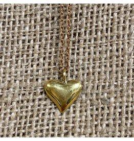 Ten Thousand Villages Gold Heart Necklace