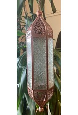 Ten Thousand Villages Hexagonal hanging lantern with embossed glass