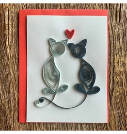Ten Thousand Villages Loving Cats Quilled Greeting Card