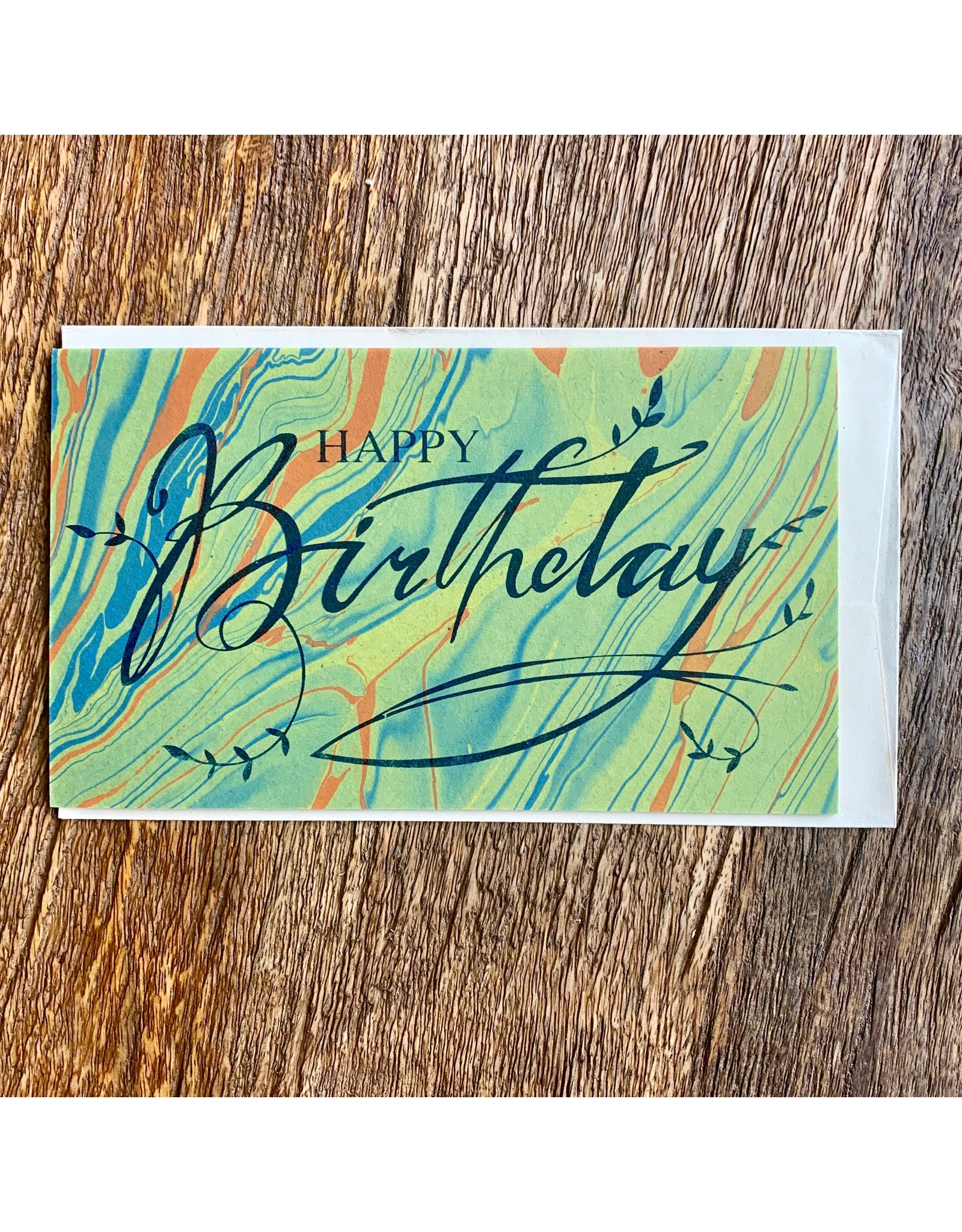 Ten Thousand Villages Green & Orange Happy Birthday card