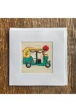 Ten Thousand Villages Stitched Auto Cart Card (Tuk-Tuk)