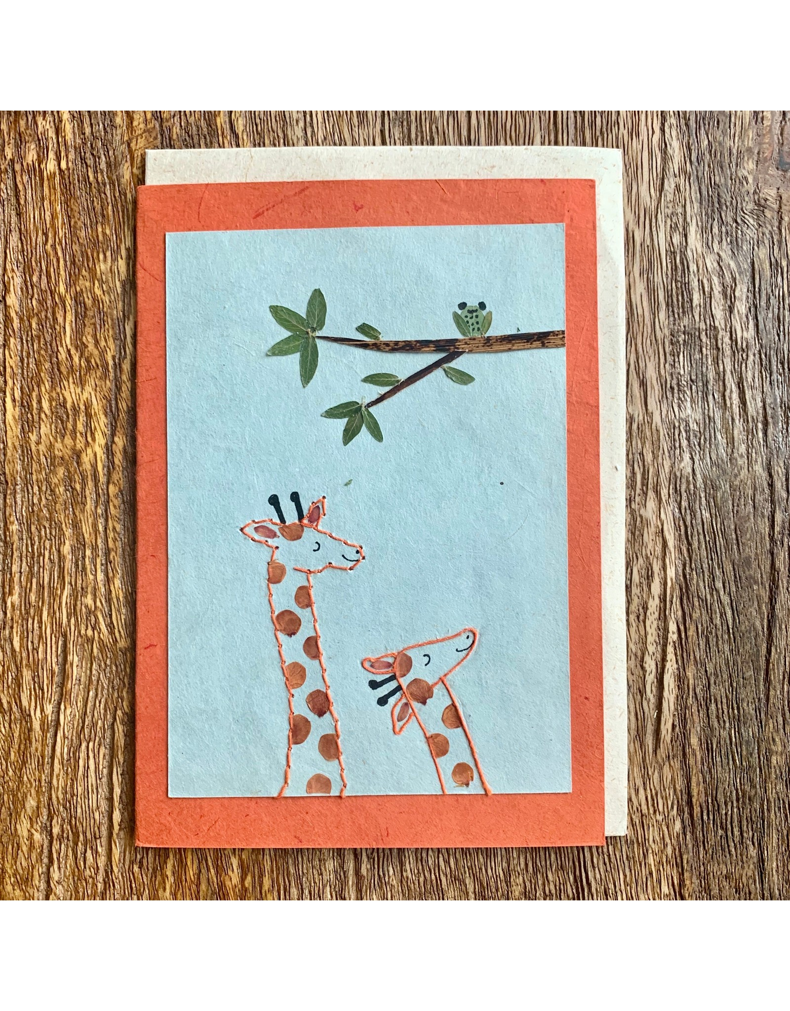Ten Thousand Villages Mommy and Me Giraffe Greeting Card