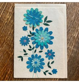 Ten Thousand Villages Blue Daisy Greeting Card, Philippines