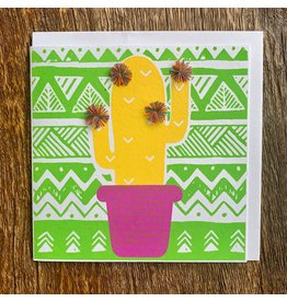 Ten Thousand Villages Card Cactus w/Pompom, Bangladesh