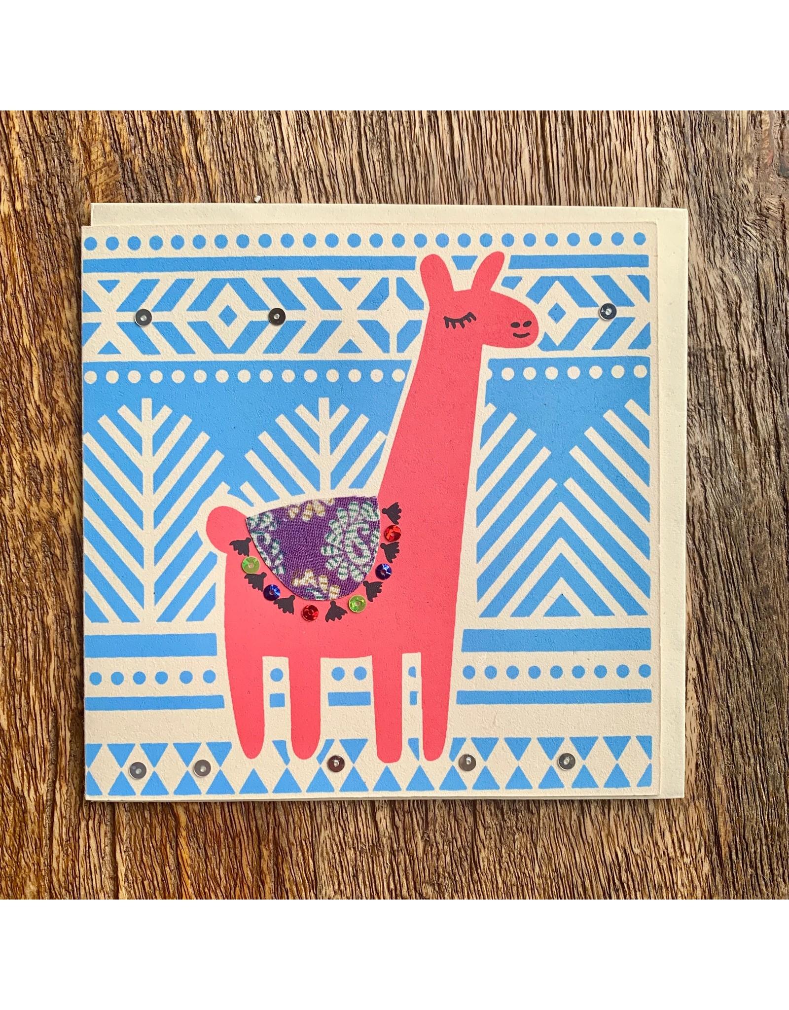 Ten Thousand Villages Card Red Llama w/Sari Saddle
