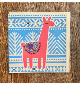Ten Thousand Villages Red Llama Card w/Sari Saddle