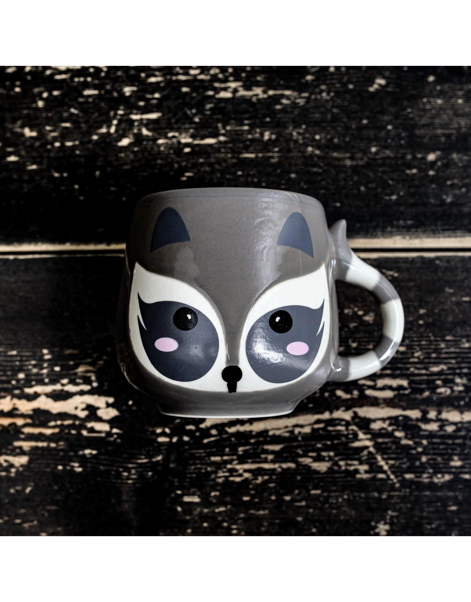 Ten Thousand Villages Mini Raccoon Ceramic Mug