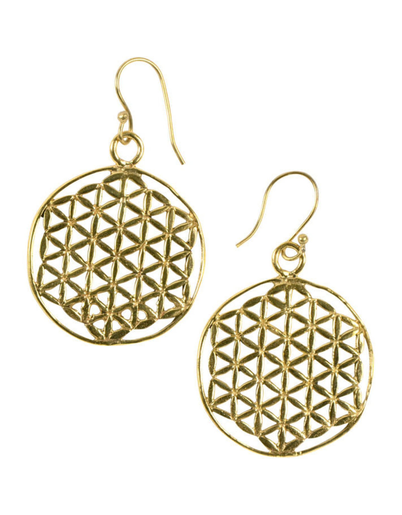 Ten Thousand Villages Triangle motif brass earrings