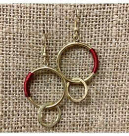 Ten Thousand Villages Red Thread Hoop Earrings