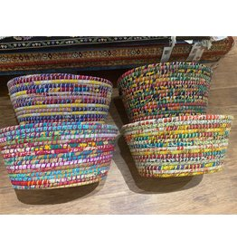 Ten Thousand Villages Reclaimed Sari Handle Basket