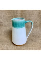Ten Thousand Villages CLEARANCE Teal Drip Ceramic Pitcher, Nepal
