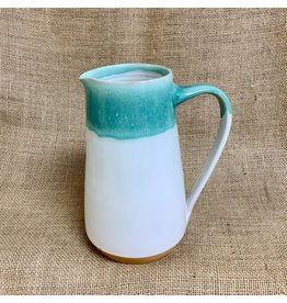 Ten Thousand Villages CLEARANCE Teal Drip Ceramic Pitcher,  40oz/1.2l, Nepal