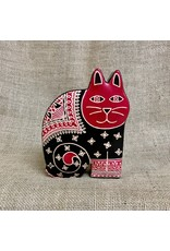 Ten Thousand Villages Cat Bank - Red/Black Leather