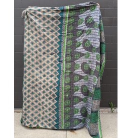 Ten Thousand Villages Upcycled Sari Duvet Cover OOAK 8 (Greens)
