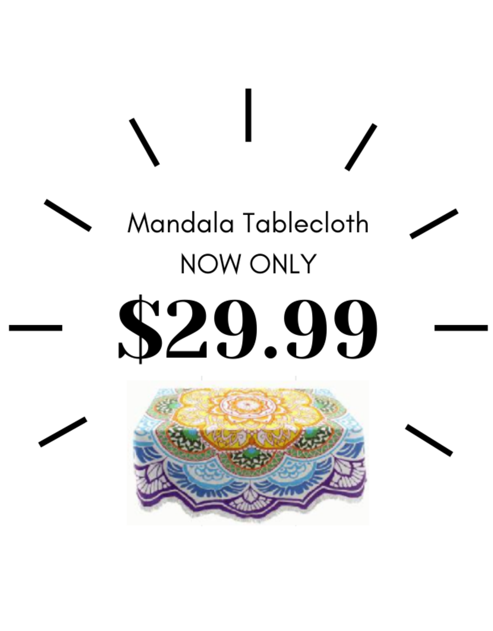 Ten Thousand Villages Bright Mandala Tablecloth