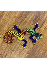 """Painted Gecko - Metal Drum Art Wall Hanging, 8"""" Assorted Colours"""
