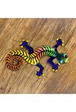 """Papillon Painted Gecko . Metal Drum Art , 8"""" Asst Colours, Haiti"""