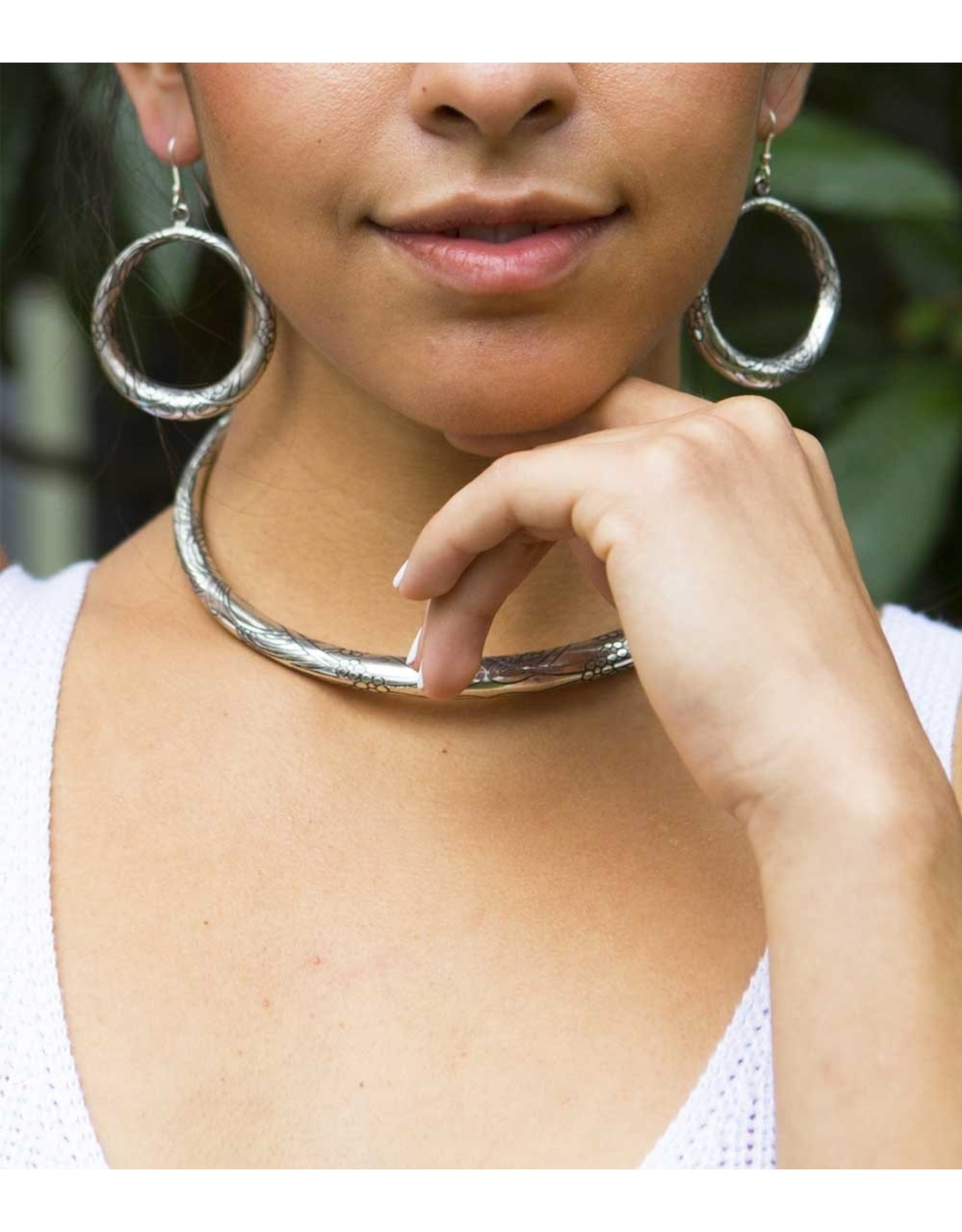 Matr Boomie Selene Silver Hoop Earring, India