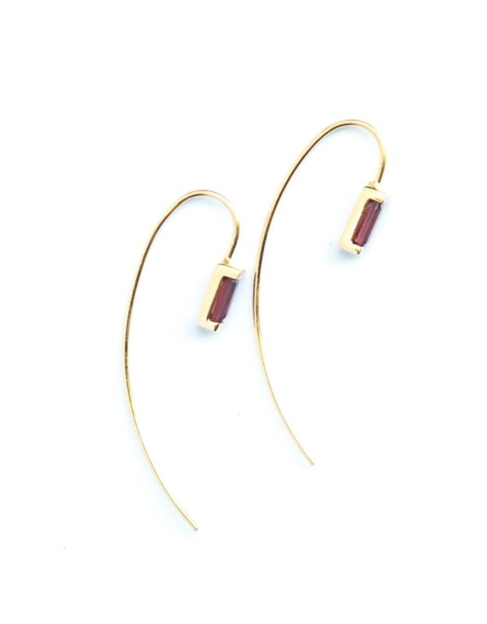 Fair Anita Prism Brass Earrings with Garnet