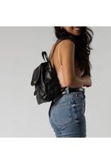 Mini Foldover Backpack in Black Leather
