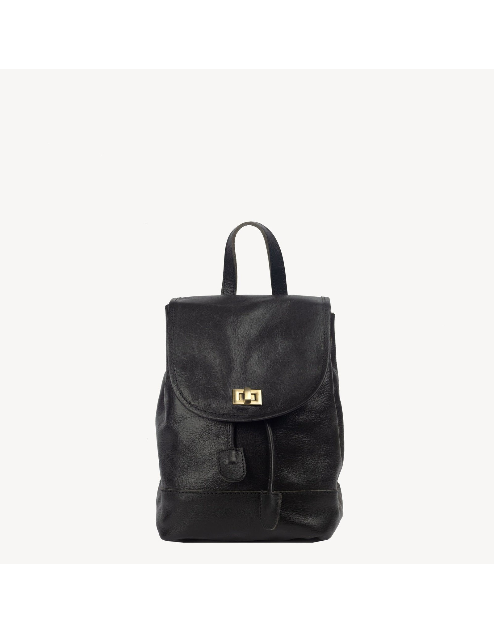 Mini Foldover Backpack in Black Leather, India