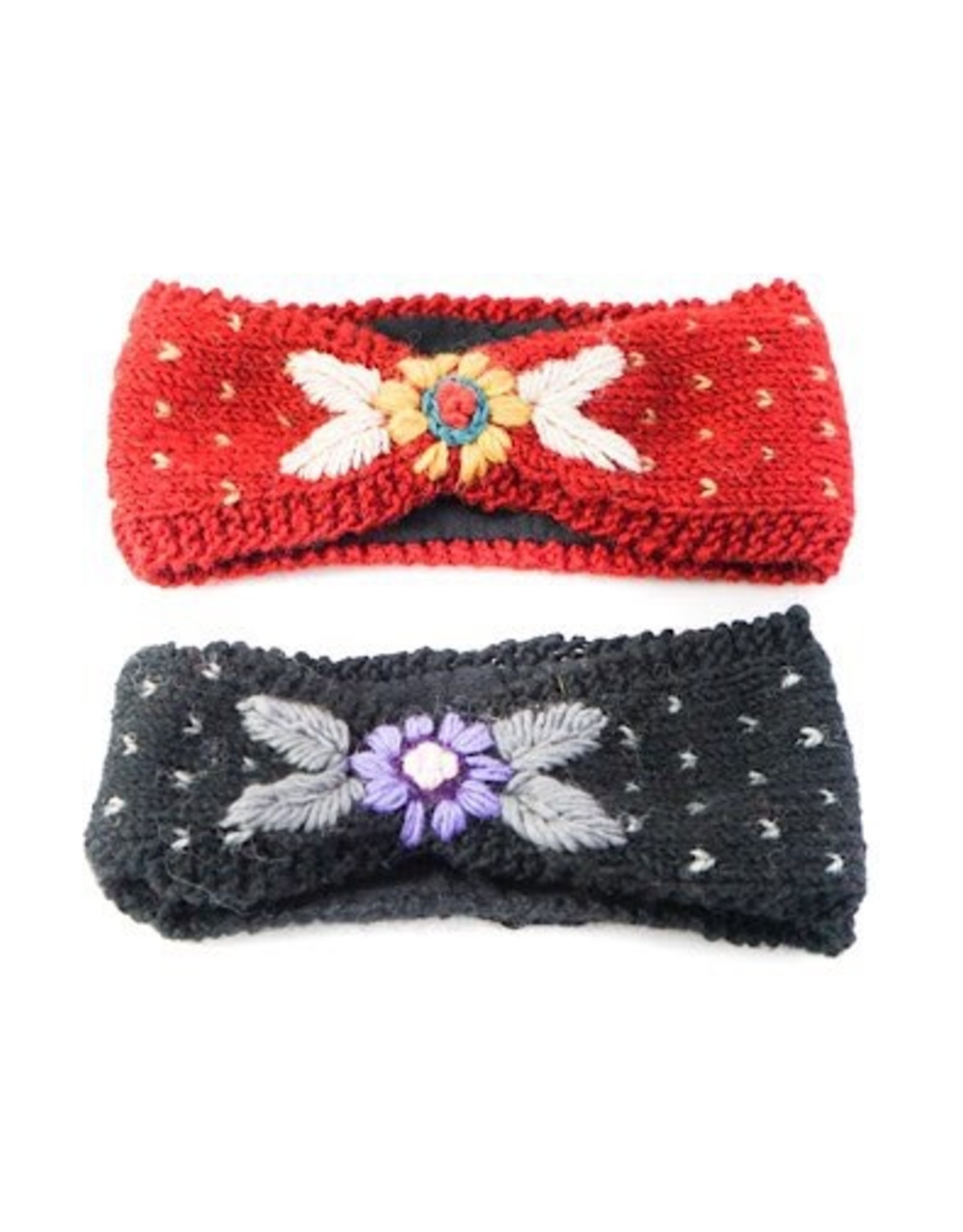 Ganesh Himal Embroidered knit headband, assorted.