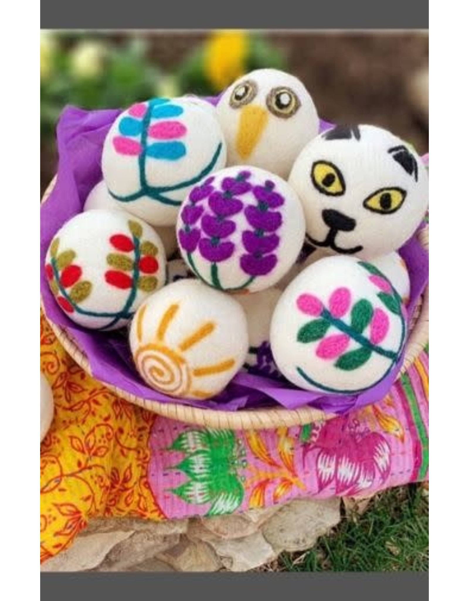 Ganesh Himal Embroidered Dryer Balls, set of 2