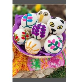 """Ganesh Himal Embroidered Dryer Ball, assorted, 3""""/8cm D, Nepal"""
